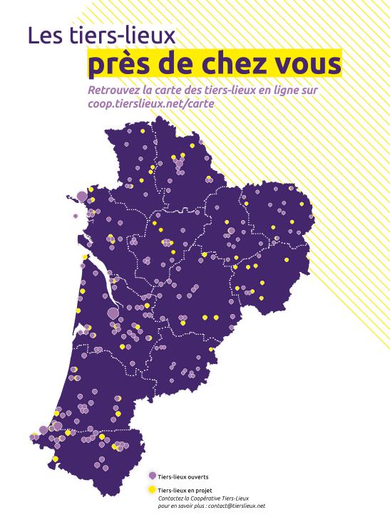 Carte des Tiers-Lieux en Aquitaine (crédit Coop des Tiers-Lieux)